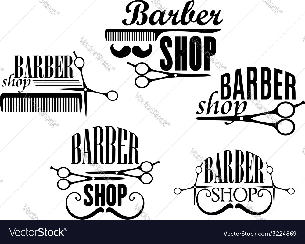 Barber shop badges or signs set vector | Price: 1 Credit (USD $1)