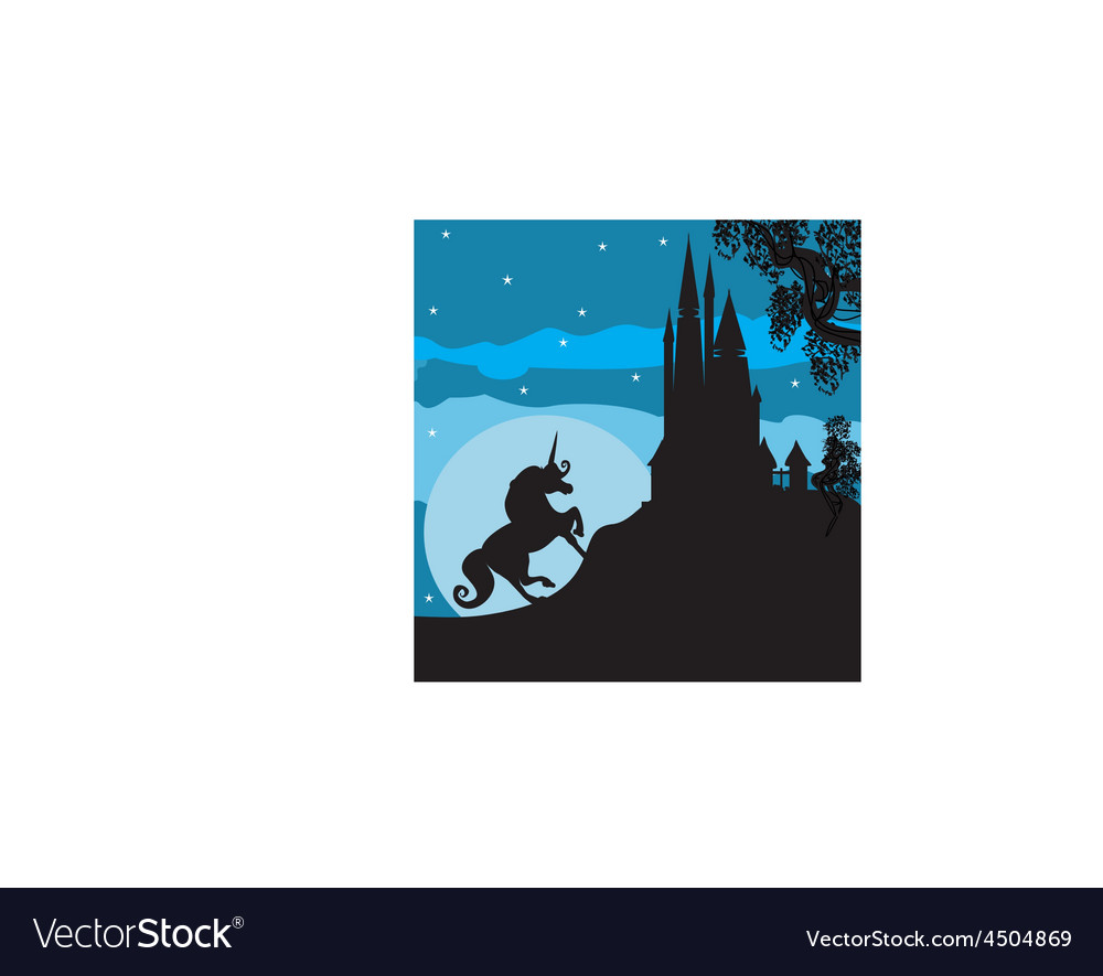 Castle and unicorn vector | Price: 1 Credit (USD $1)