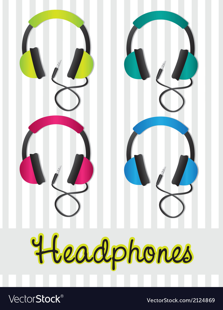 Color set of headphones on gray background lines vector | Price: 1 Credit (USD $1)