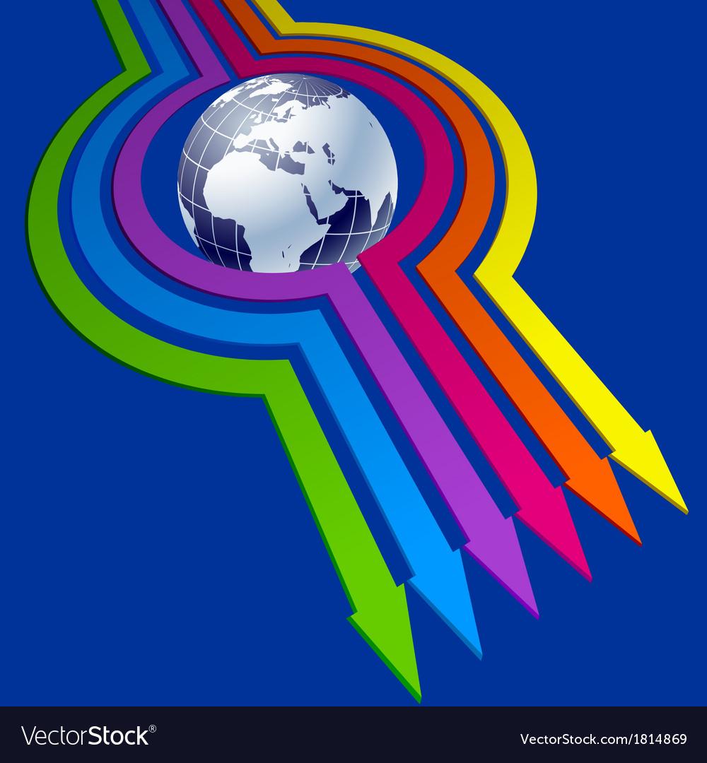 Colorful arrows around globe vector | Price: 1 Credit (USD $1)