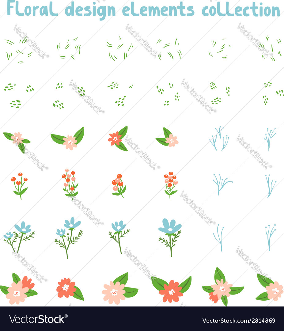 Decorative floral design elements collection vector | Price: 1 Credit (USD $1)
