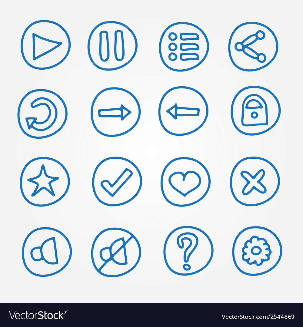 Game ui buttons - set of doodle hand drawn vector | Price: 1 Credit (USD $1)