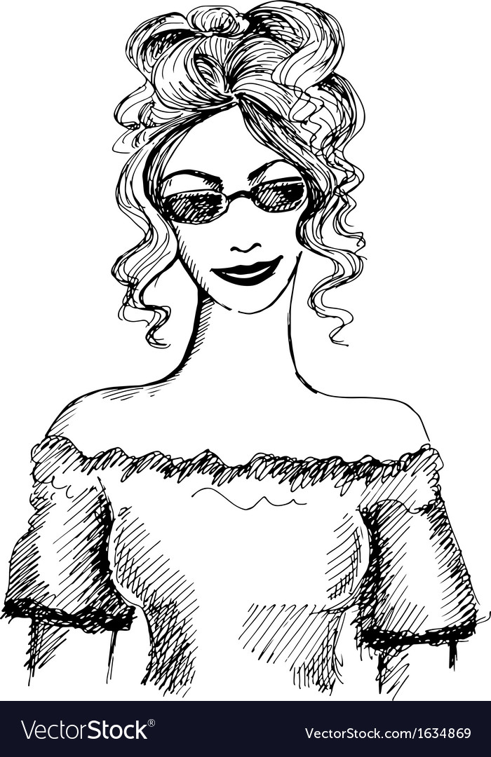 Hand drawn fashionable girl vector | Price: 1 Credit (USD $1)
