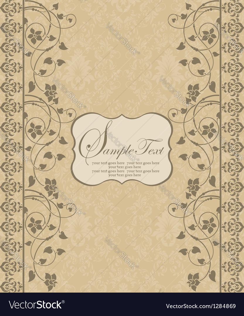 Vintage damask invitation card vector | Price: 1 Credit (USD $1)