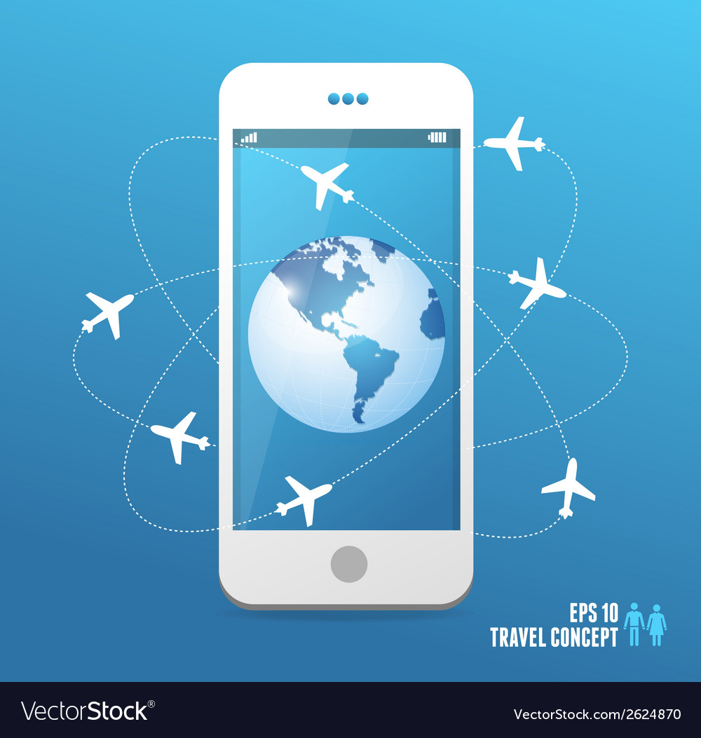 Airplanes flying around the globe phone concept vector | Price: 1 Credit (USD $1)