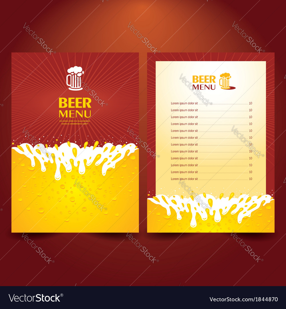 Beer card menu splash vector | Price: 1 Credit (USD $1)