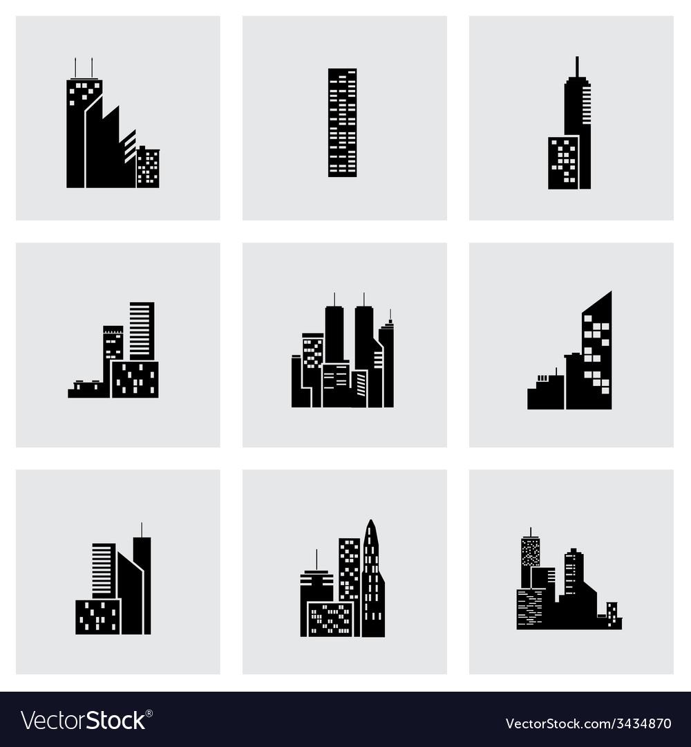 Black building icon set vector | Price: 1 Credit (USD $1)