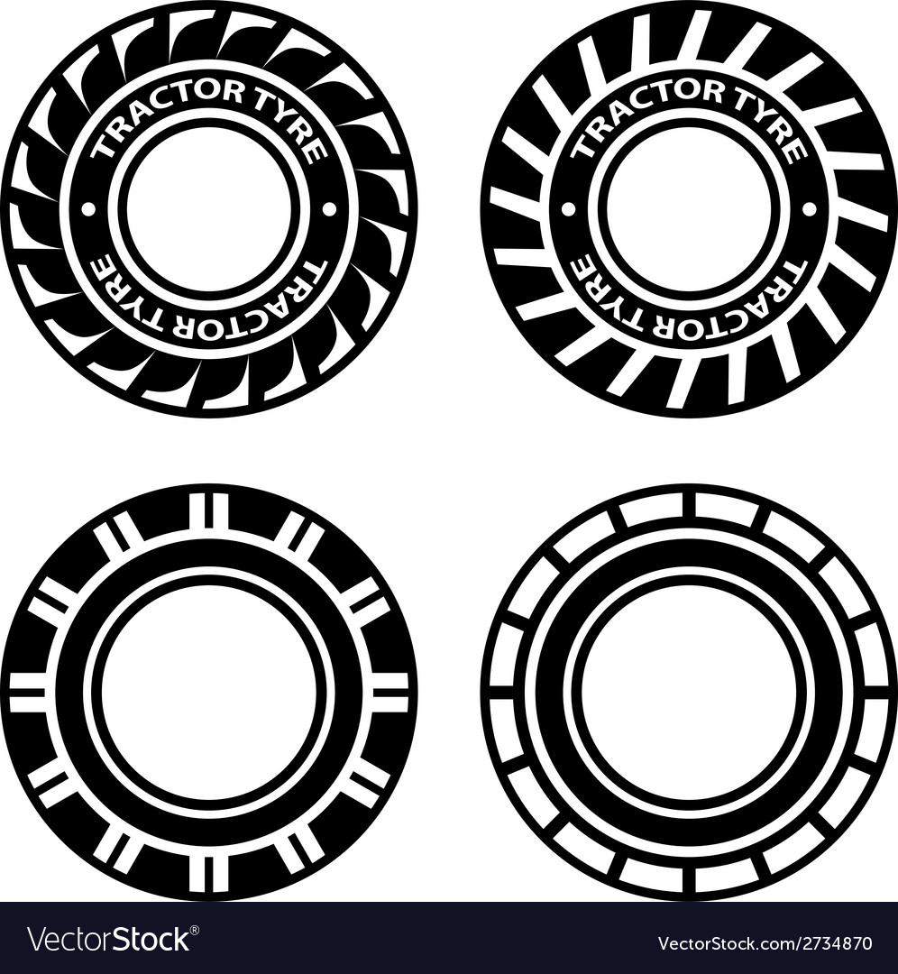 Black tractor tyre symbols vector | Price: 1 Credit (USD $1)