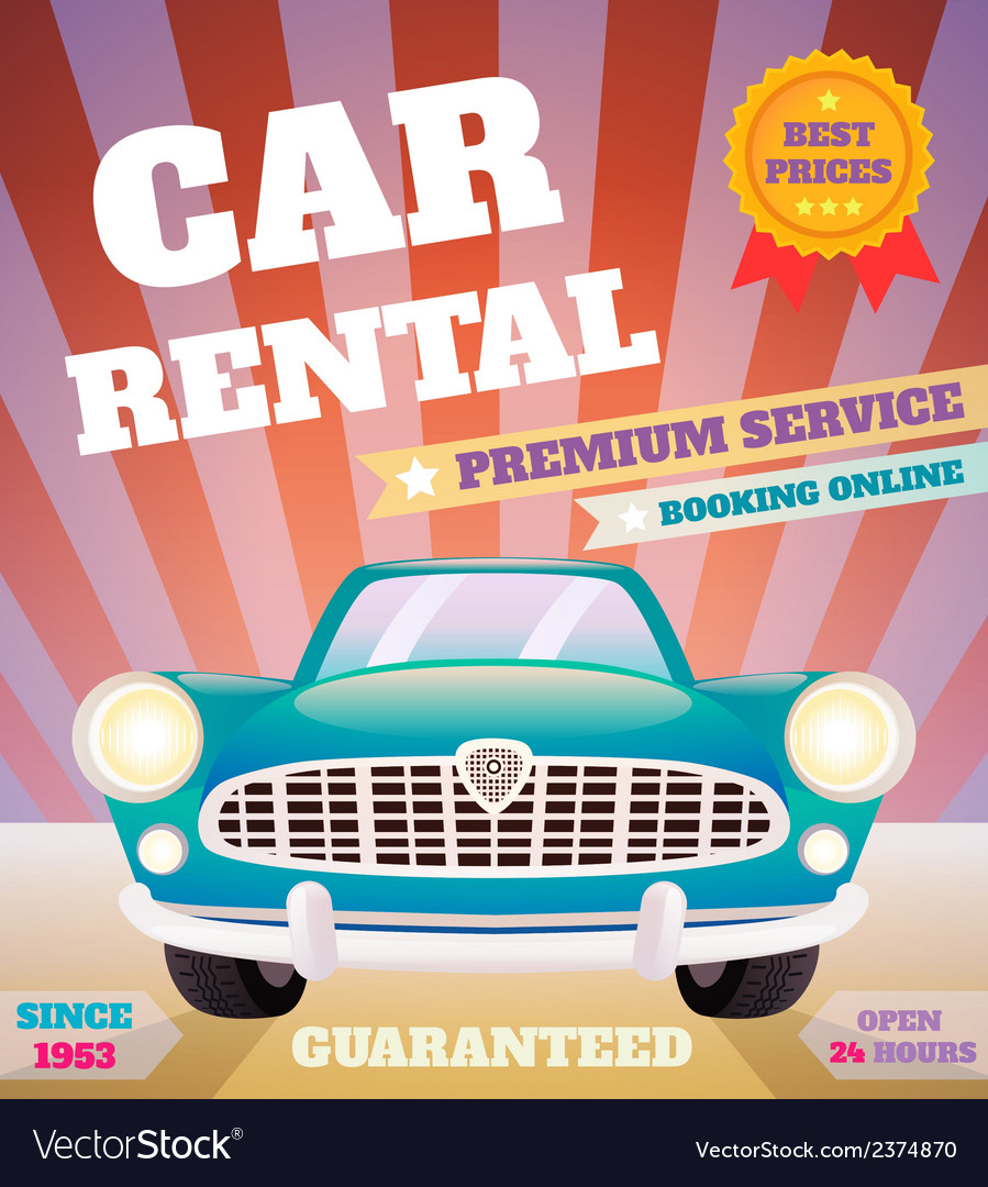 Car rental retro poster vector | Price: 1 Credit (USD $1)