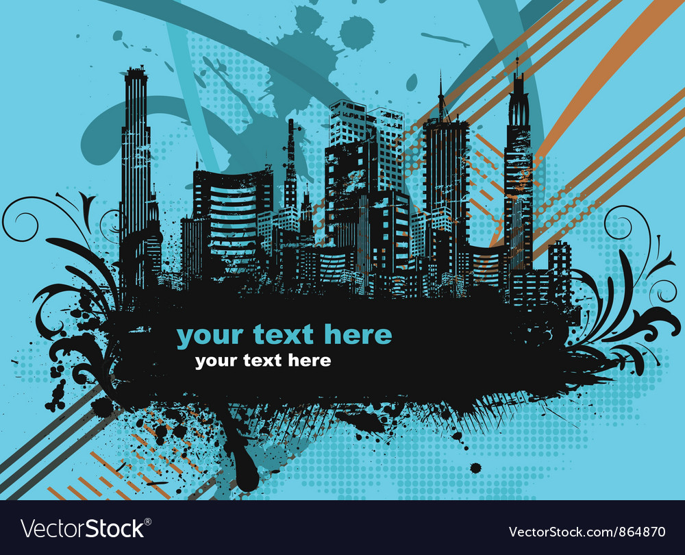 City with grunge and floral vector | Price: 1 Credit (USD $1)