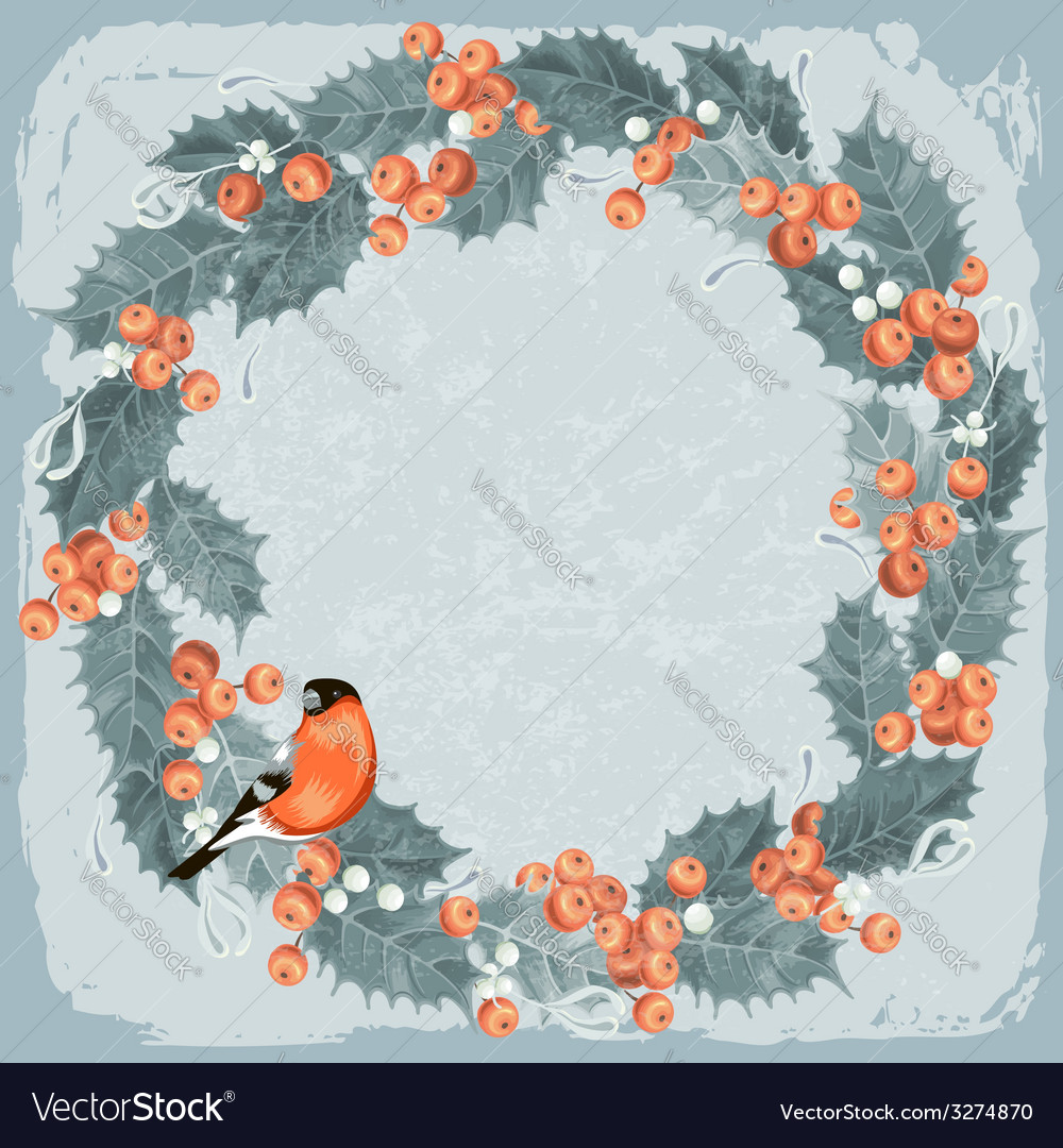 Holly berry wreath vector | Price: 1 Credit (USD $1)