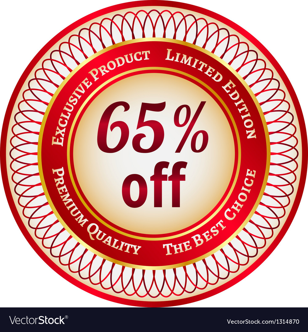 Label on 65 percent discount vector | Price: 1 Credit (USD $1)