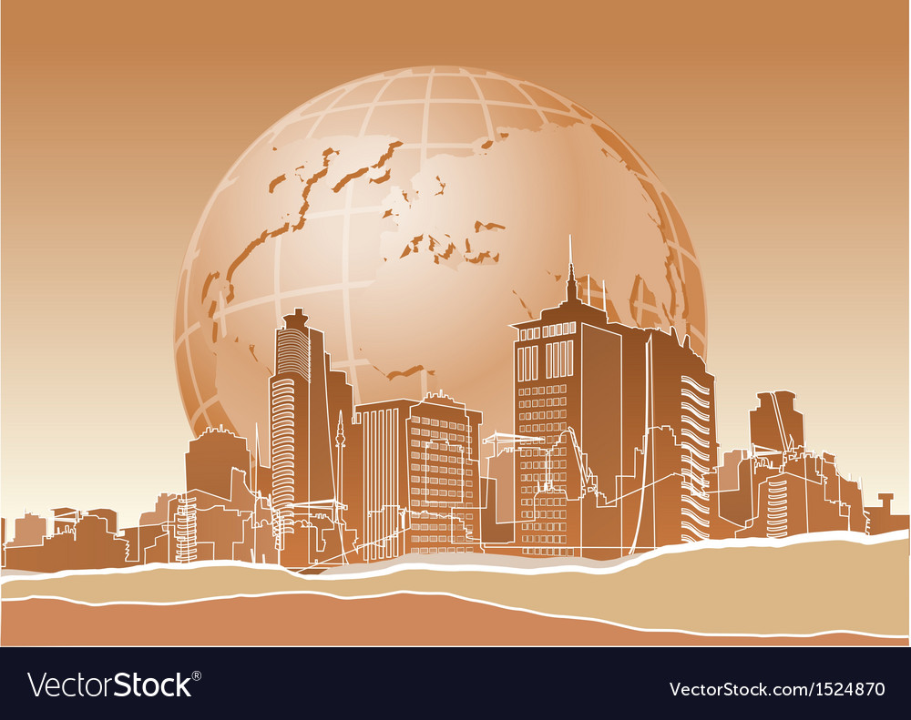 Modern city and earth vector | Price: 3 Credit (USD $3)