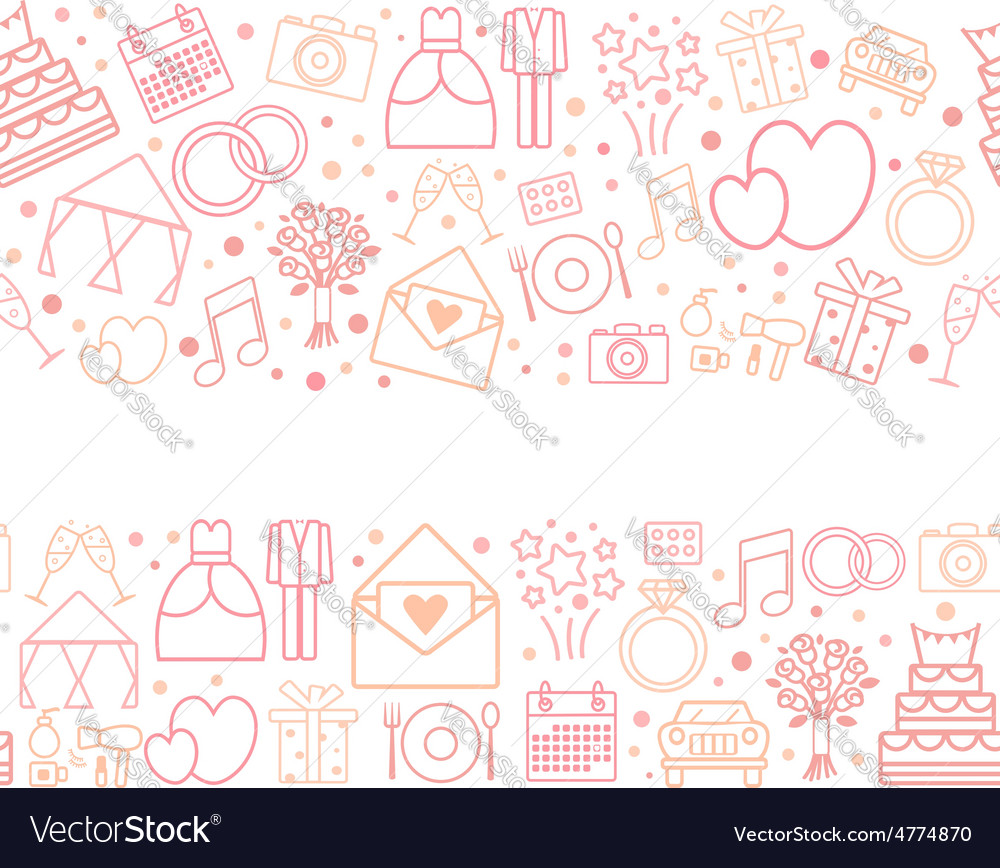 Seamless pattern borders of wedding icons vector | Price: 1 Credit (USD $1)