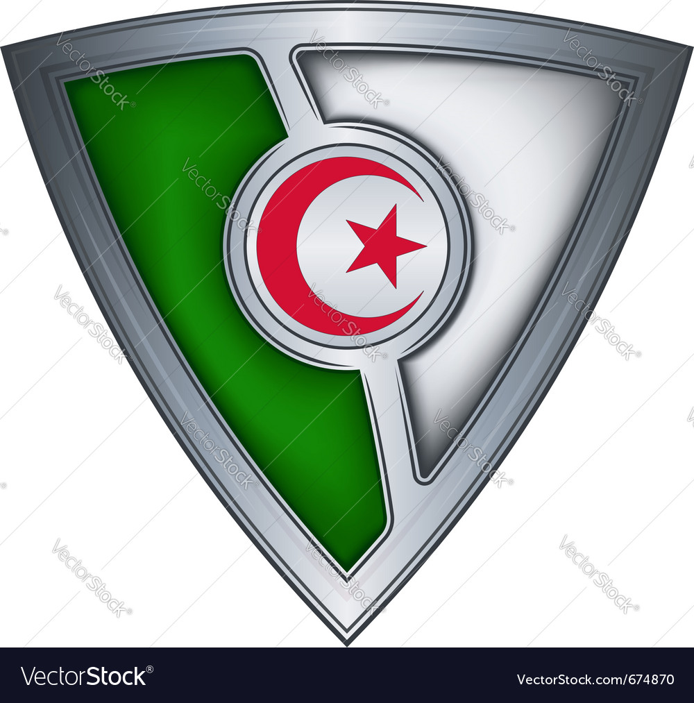 Steel shield with flag algeria vector | Price: 1 Credit (USD $1)