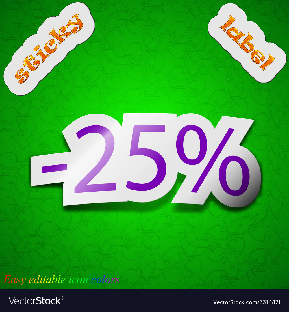 25 percent discount icon sign symbol chic colored vector | Price: 1 Credit (USD $1)