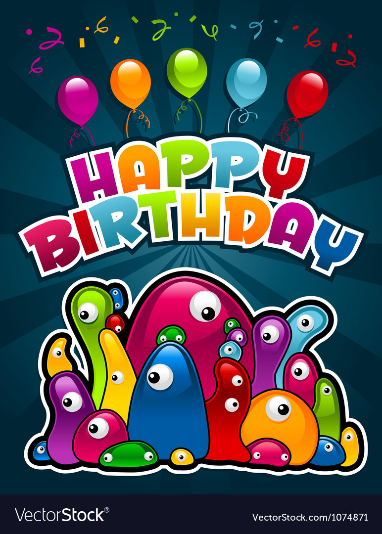 Birthday party monsters vector | Price: 1 Credit (USD $1)