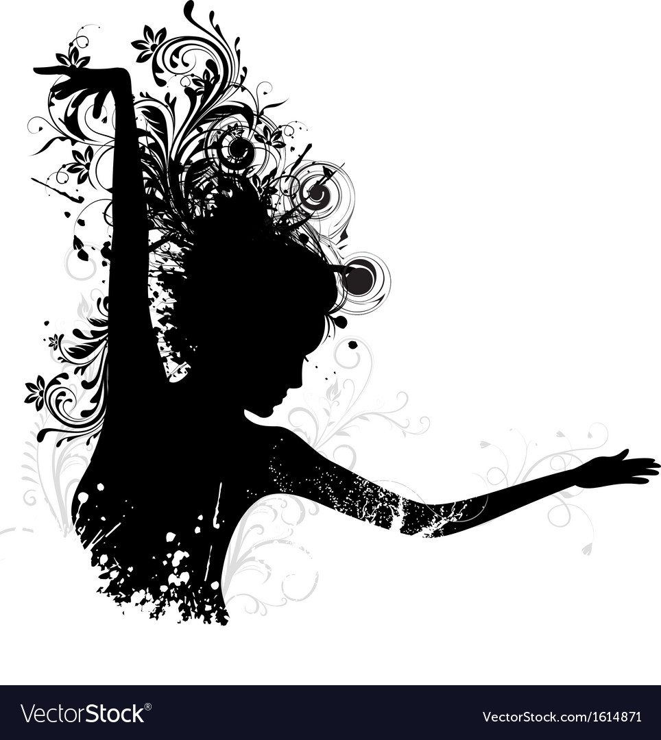 Floral dancing lady vector | Price: 1 Credit (USD $1)
