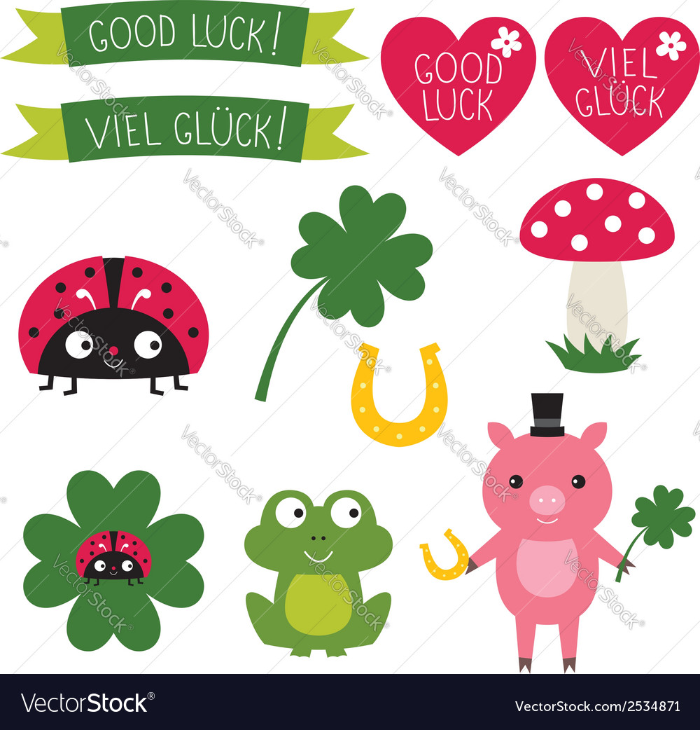 Good luck elements set vector | Price: 1 Credit (USD $1)