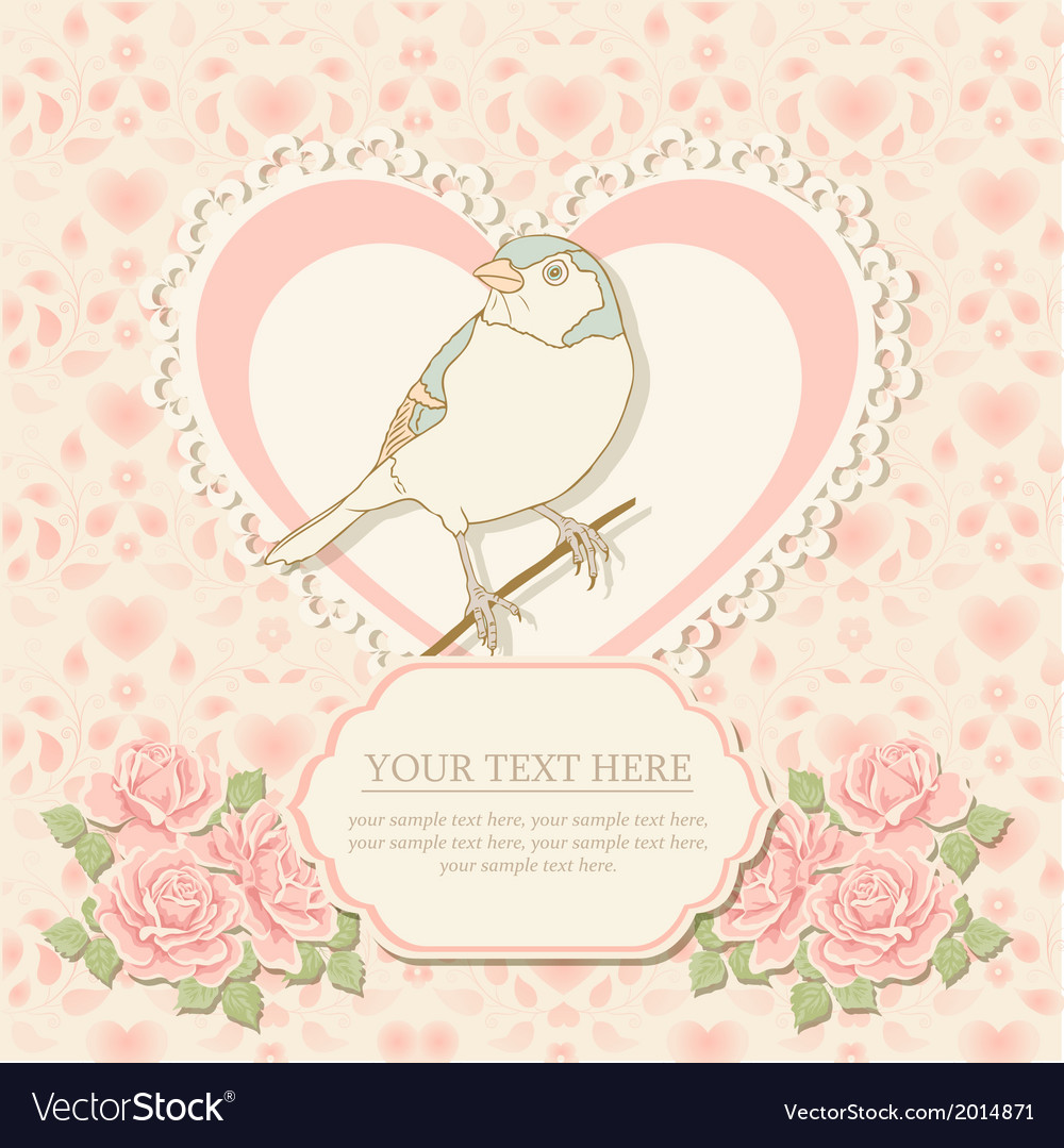 Greeting card with heart shape and bird vector | Price: 1 Credit (USD $1)