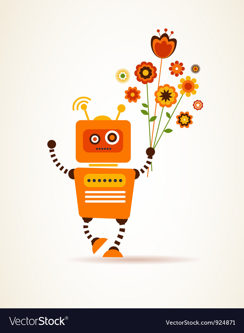 Orange robot with flowers vector | Price: 1 Credit (USD $1)