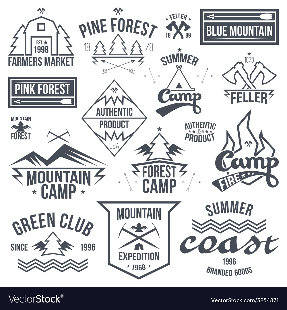 Set of retro vintage camping badges vector | Price: 1 Credit (USD $1)