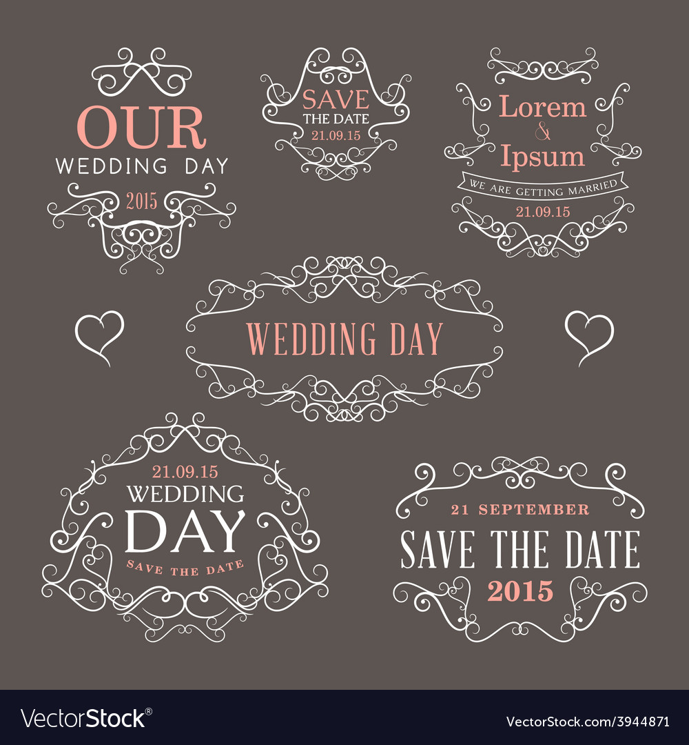 Wedding set of label badges stamp and design vector | Price: 1 Credit (USD $1)