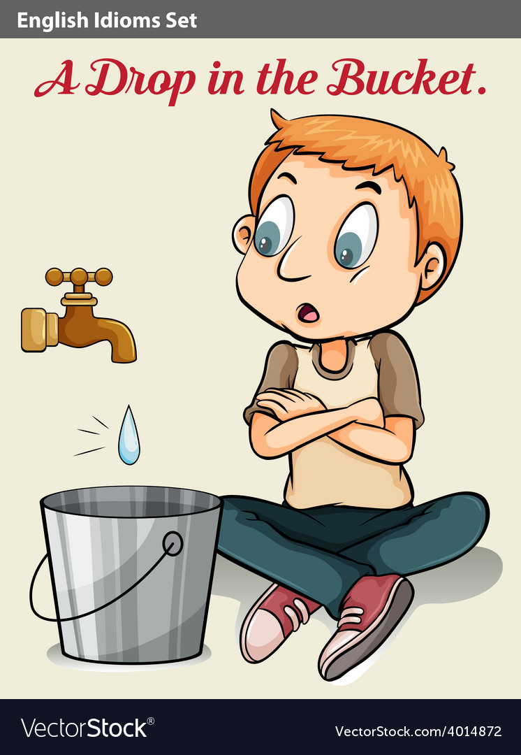 A boy watching the drop of water vector | Price: 3 Credit (USD $3)