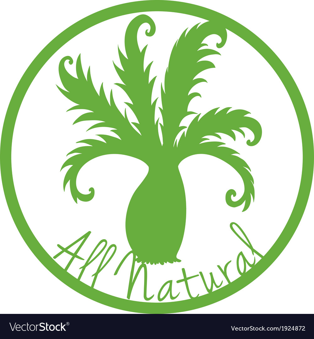 An all natural label with a plant vector | Price: 1 Credit (USD $1)