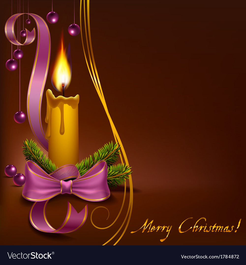 Christmas candle with beads on a brown background vector | Price: 1 Credit (USD $1)