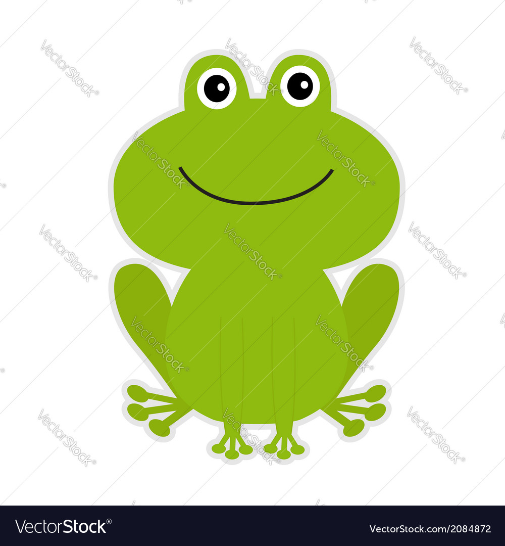 Cute green cartoon frog vector | Price: 1 Credit (USD $1)