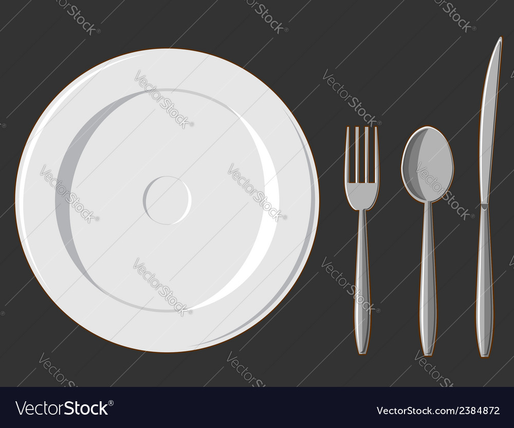 Dining set plate fork spoon knife vector | Price: 1 Credit (USD $1)
