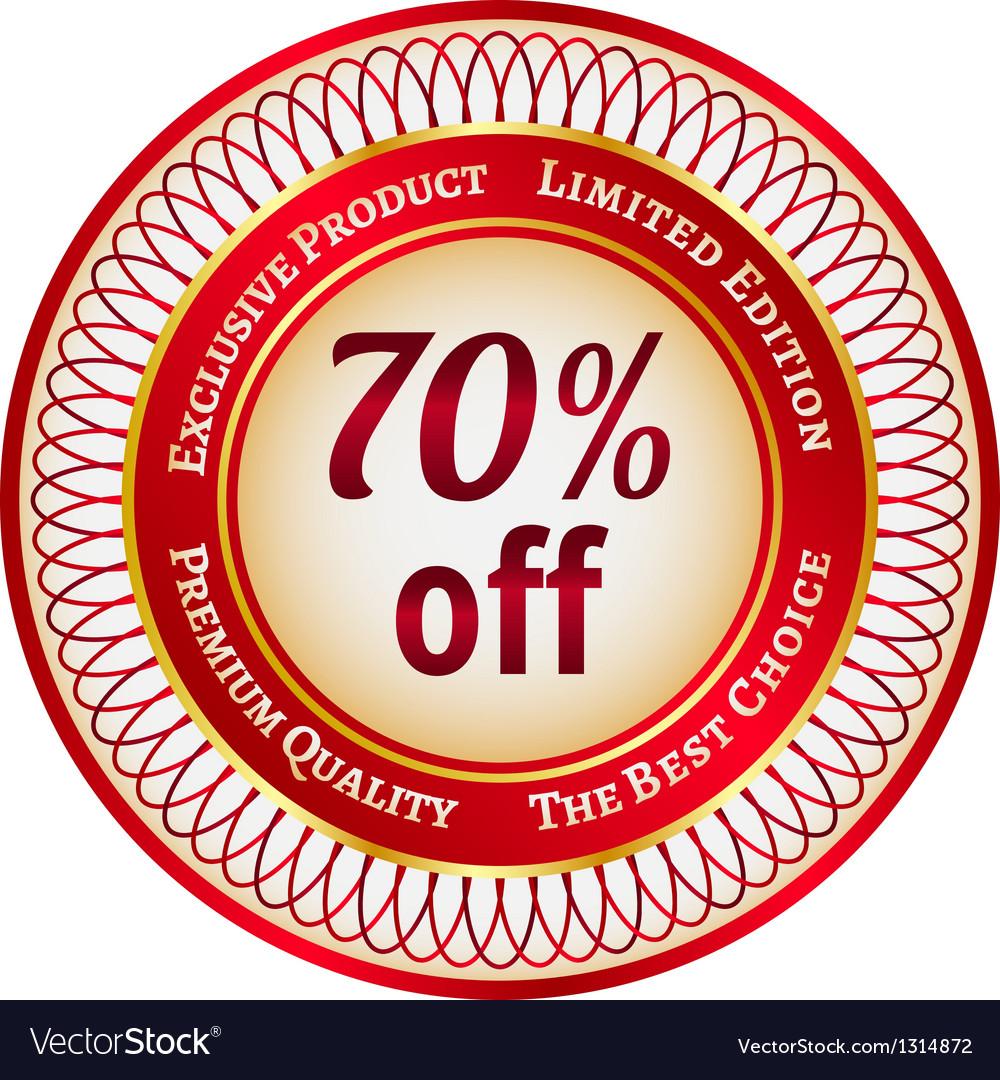 Label on 70 percent discount vector | Price: 1 Credit (USD $1)