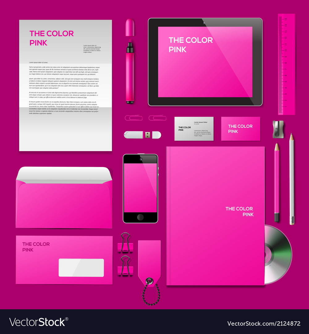 Pink corporate id mockup vector | Price: 1 Credit (USD $1)