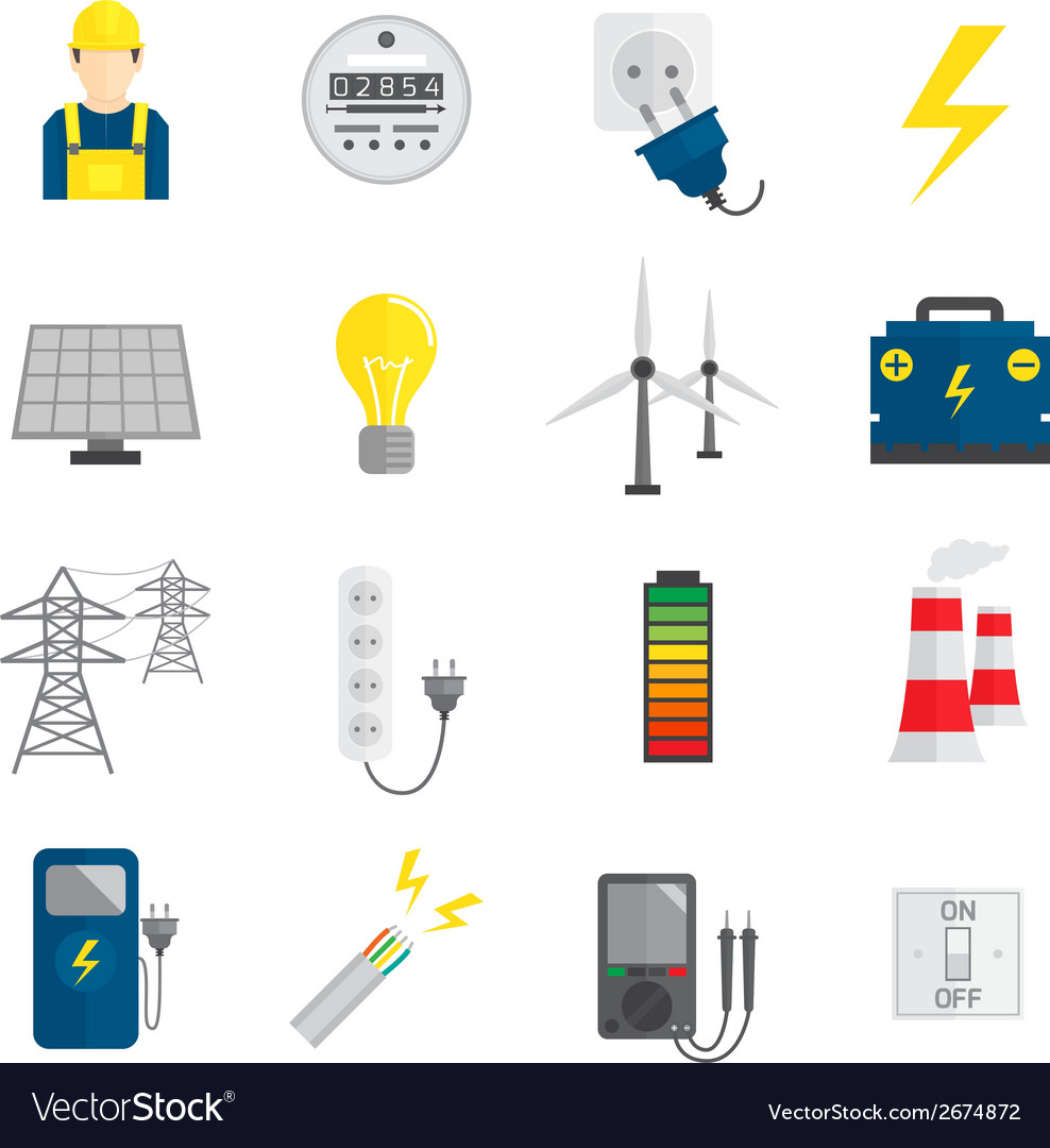 Set of electricity icons vector | Price: 1 Credit (USD $1)