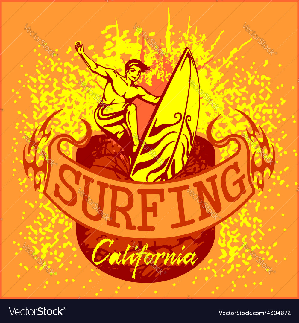 Surfing - label and elements vector | Price: 3 Credit (USD $3)