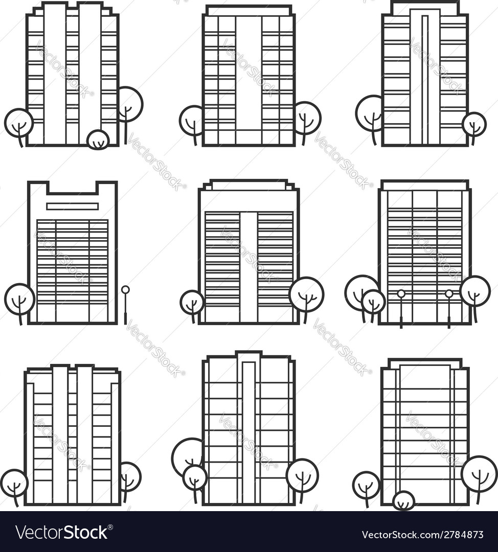 Apartment building icons vector | Price: 1 Credit (USD $1)