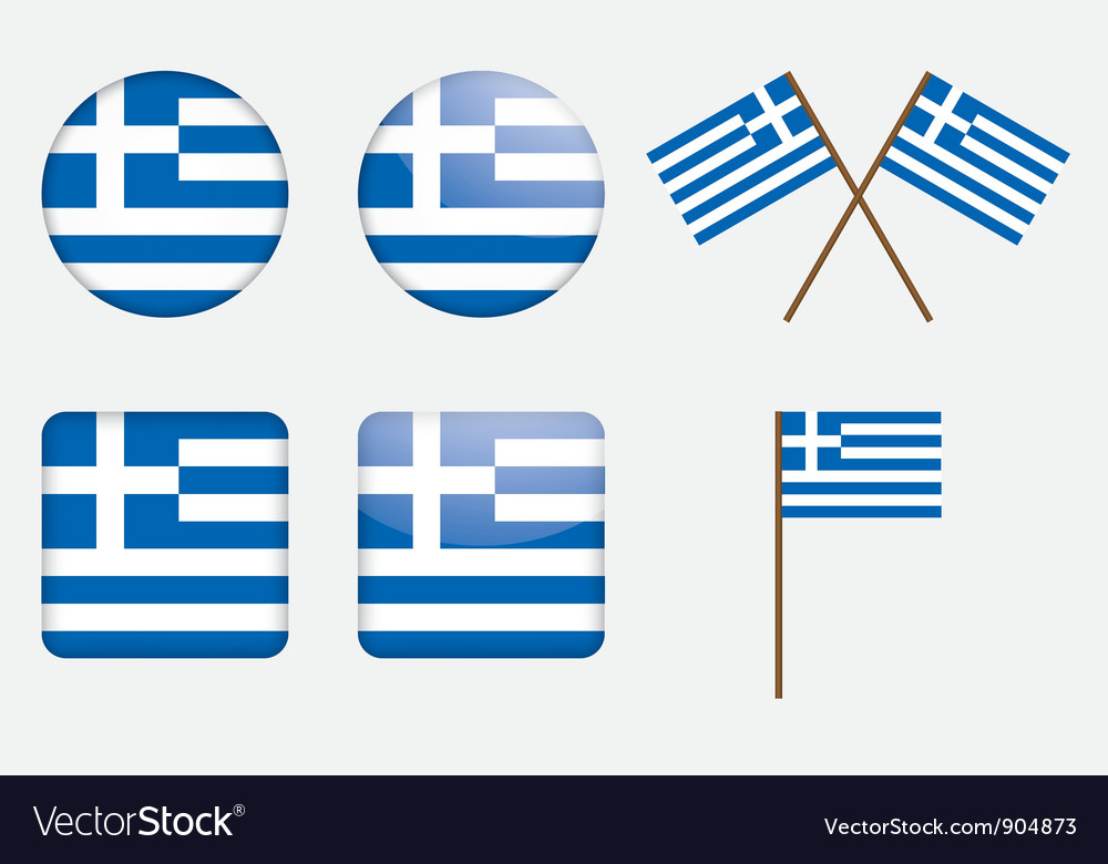 Badges with flag of greece vector | Price: 1 Credit (USD $1)