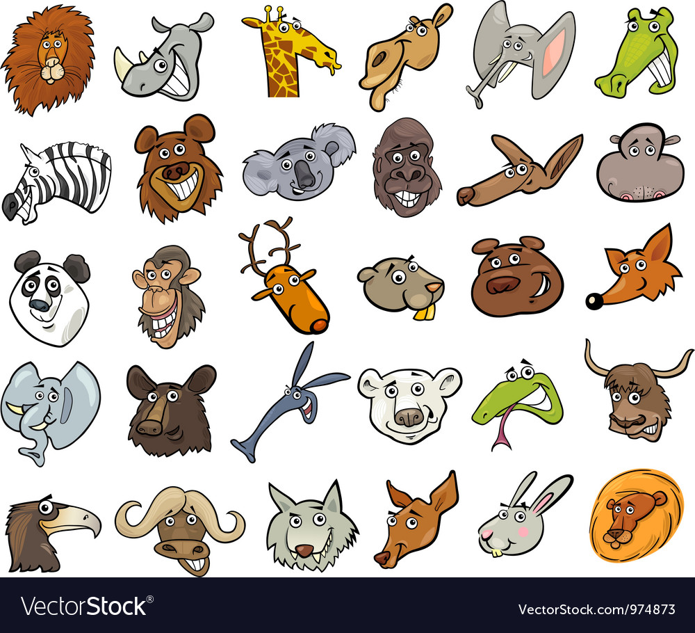 Cartoon wild animals heads huge set vector | Price: 3 Credit (USD $3)