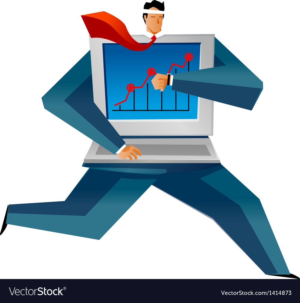 Close-up of man holding laptop vector | Price: 1 Credit (USD $1)