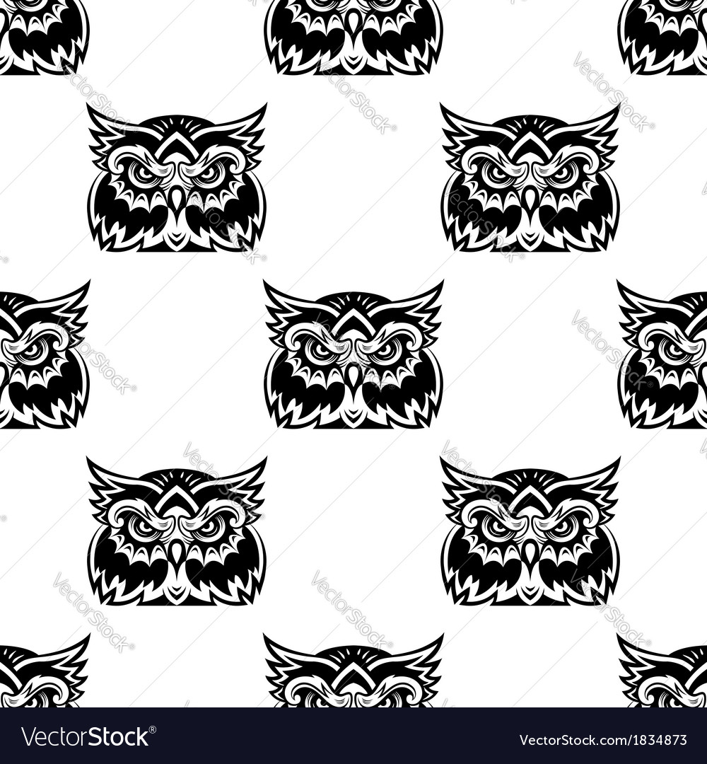 Cute little wise old owl seamless pattern vector | Price: 1 Credit (USD $1)