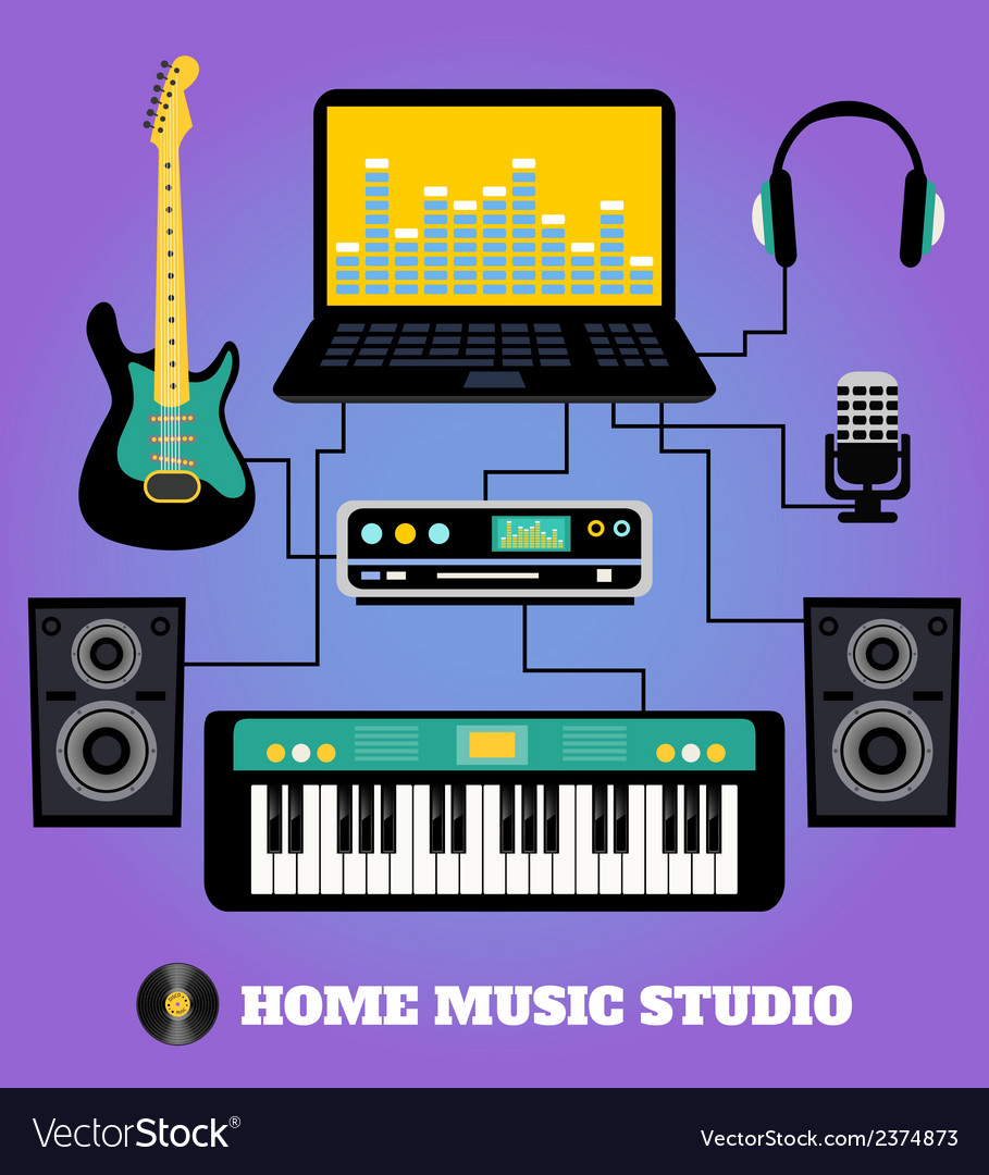 Home music studio vector | Price: 1 Credit (USD $1)