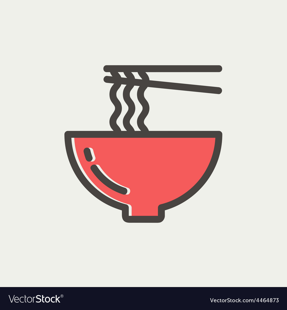Noodles bowl with a pair of chopsticks thin line vector | Price: 1 Credit (USD $1)