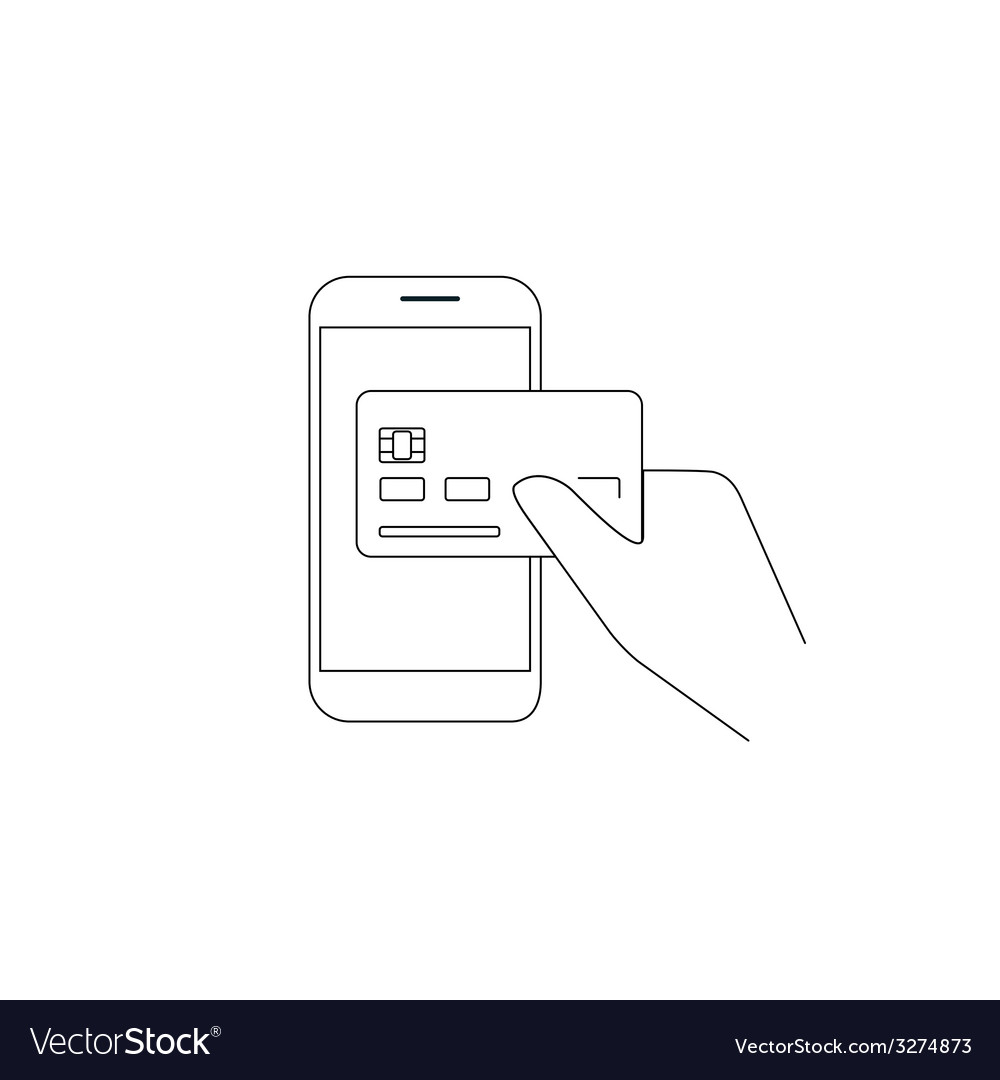 Payment by credit card via smartphone vector | Price: 1 Credit (USD $1)