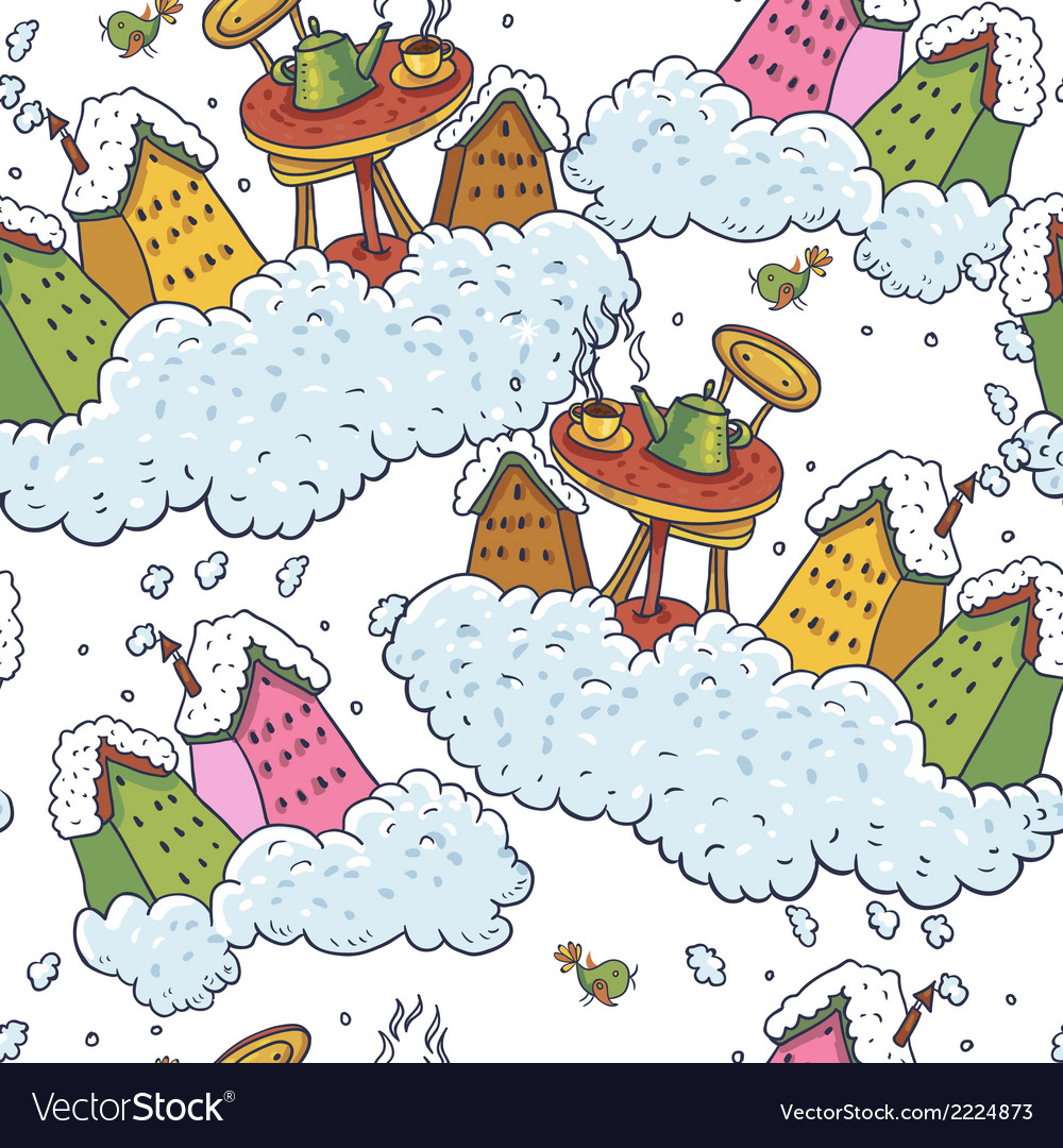 Seamless christmas background houses and tea party vector | Price: 1 Credit (USD $1)