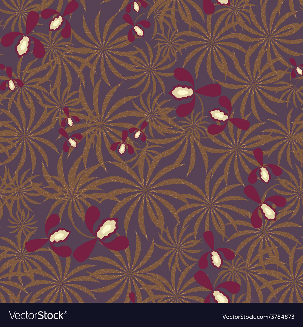 Seamless exotic pattern with orchids flowers vector | Price: 1 Credit (USD $1)