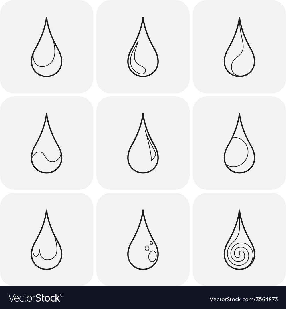 Set of symbols of a drop water vector | Price: 1 Credit (USD $1)