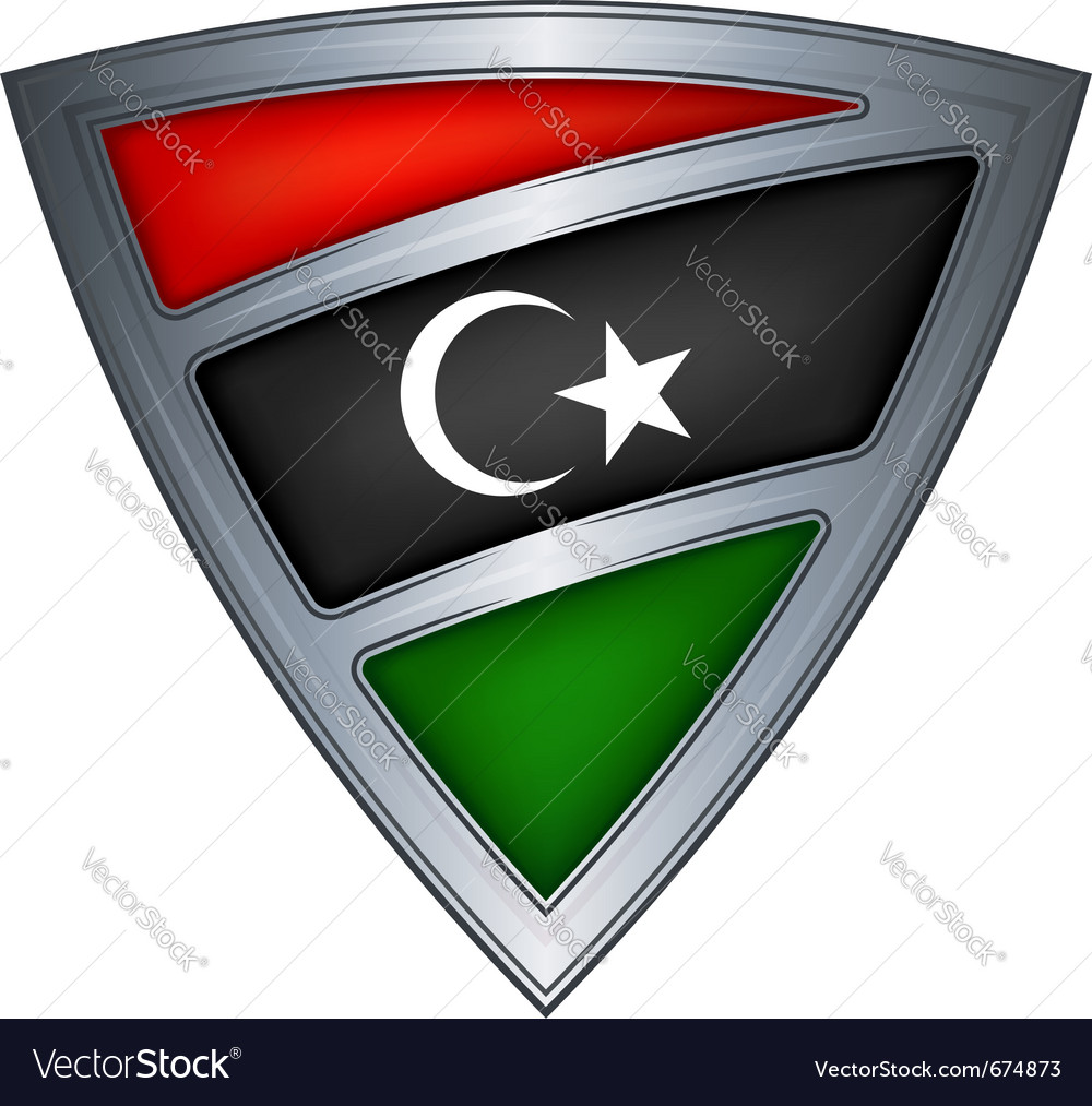 Steel shield with flag libya vector | Price: 1 Credit (USD $1)
