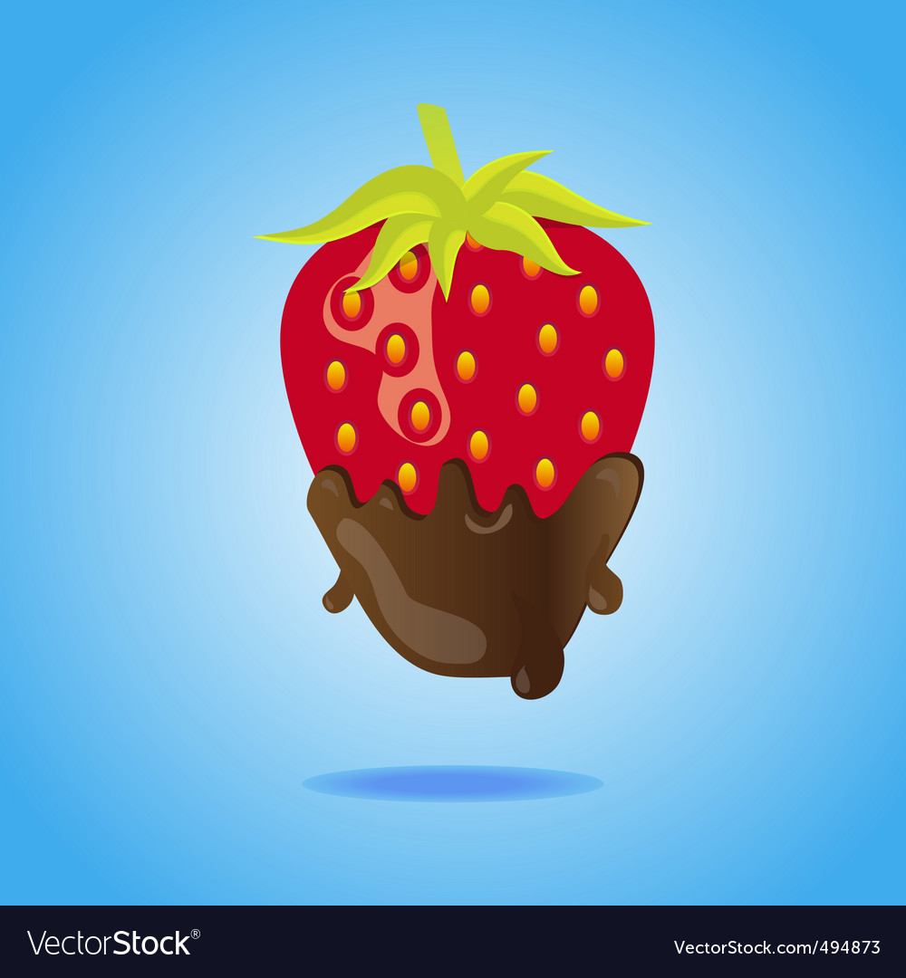 Strawberry dipped in chocolate vector | Price: 1 Credit (USD $1)