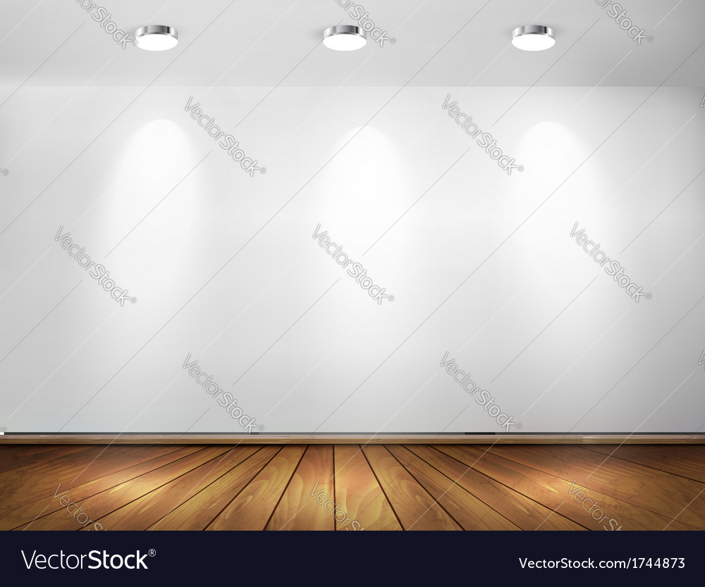Wall with spotlights and wooden floor showroom vector | Price: 1 Credit (USD $1)